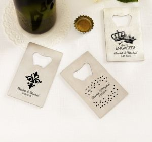 PERSONALIZED Wedding Credit Card Bottle Openers - Silver (Printed Metal) (Black, Damask & Dots)