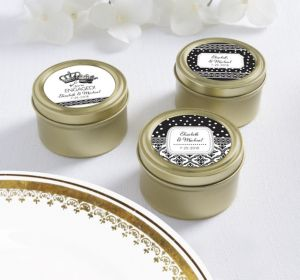 PERSONALIZED Wedding Round Candy Tins - Gold (Printed Label) (Damask & Dots Engagement)