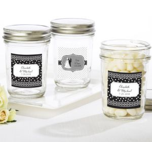 PERSONALIZED Wedding Mason Jars with Solid Lids (Printed Label)
