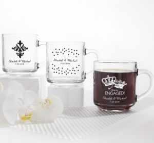 PERSONALIZED Wedding Glass Coffee Mugs (Printed Glass) (Black, Damask & Dots Engagement)