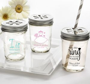PERSONALIZED Wedding Mason Jars with Daisy Lids (Printed Glass) (Black, Ring Engaged)