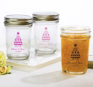 PERSONALIZED Wedding Mason Jars with Solid Lids (Printed Glass) (White, Sweet Wedding Cake)