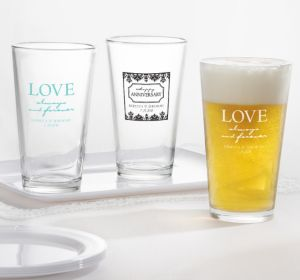 PERSONALIZED Wedding Pint Glasses (Printed Glass) (White, Always & Forever Happy Anniversary)