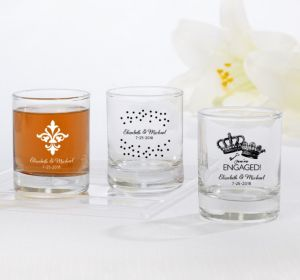 PERSONALIZED Wedding Shot Glasses (Printed Glass) (White, Damask & Dots Engagement)