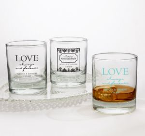 PERSONALIZED Wedding Rocks Glasses (Printed Glass) (Black, Always & Forever Love)