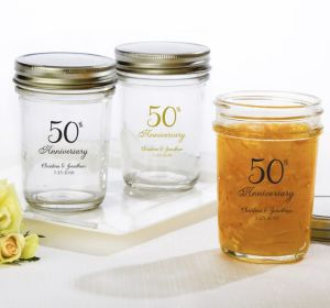 PERSONALIZED Wedding Mason Jars with Solid Lids (Printed Glass) (50th Anniversary Elegant Scroll)