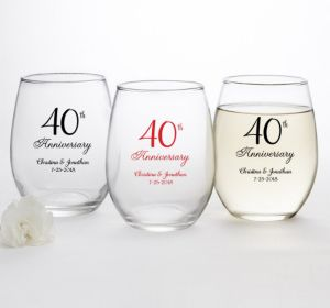 PERSONALIZED Wedding Stemless Wine Glasses 15oz (Printed Glass) (Red, 40th Anniversary)