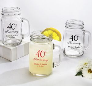 PERSONALIZED Wedding Mason Jar Mugs (Printed Glass) (40th Anniversary Elegant Scroll)