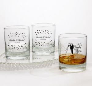 PERSONALIZED Wedding Rocks Glasses (Printed Glass) (Black, Happily Ever After)