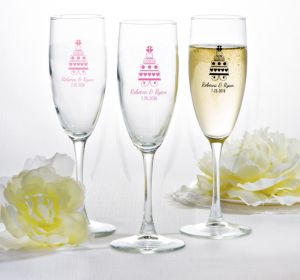 PERSONALIZED Wedding Champagne Flutes (Printed Glass) (White, Sweet Wedding Cake)