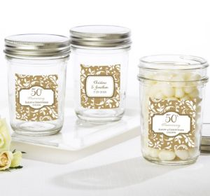 PERSONALIZED Wedding Mason Jars with Solid Lids (Printed Label) (Gold Elegant Scroll)