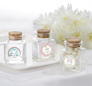 PERSONALIZED Wedding Small Glass Bottles with Corks (Printed Label ) (Ring Engaged)
