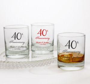 PERSONALIZED Wedding Rocks Glasses (Printed Glass) (40th Anniversary Elegant Scroll)
