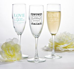 PERSONALIZED Wedding Champagne Flutes (Printed Glass) (White, Always & Forever Damask)