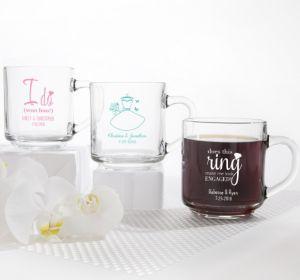 PERSONALIZED Wedding Glass Coffee Mugs (Printed Glass) (Pink, Blushing Bride Dress)