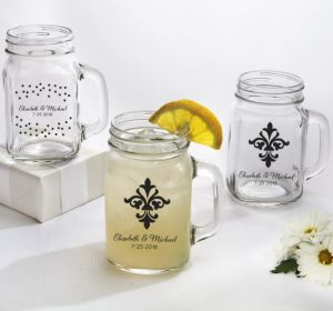 PERSONALIZED Wedding Mason Jar Mugs (Printed Glass) (White, Damask & Dots Engagment)