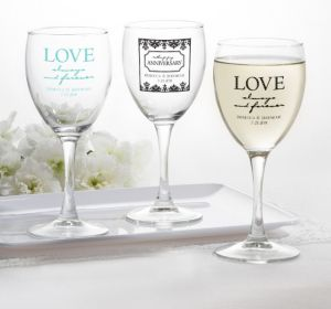 PERSONALIZED Wedding Wine Glasses (Printed Glass) (Black, Always & Forever Phrase)