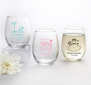 PERSONALIZED Wedding Stemless Wine Glasses 9oz (Printed Glass) (White, Ring Engaged)