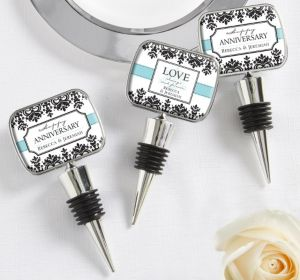 PERSONALIZED Wedding Bottle Stoppers (Printed Epoxy Label) (Always & Forever Anniversary)