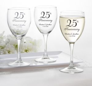 PERSONALIZED Wedding Wine Glasses (Printed Glass) (25th Anniversary Elegant Scroll)