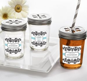PERSONALIZED Wedding Mason Jars with Daisy Lids (Printed Label) (Always & Forever Happy Anniversary)