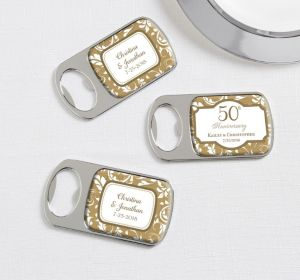 PERSONALIZED Wedding Bottle Openers - Silver (Printed Epoxy Label) (Gold Elegant Scroll)
