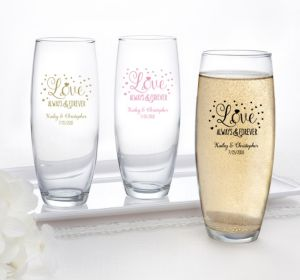PERSONALIZED Wedding Stemless Champagne Flutes (Printed Glass) (Pink, Sparkling Pink Wedding)