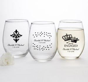 PERSONALIZED Wedding Stemless Wine Glasses 15oz (Printed Glass) (Black, We're Engaged Crowns)