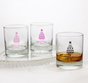 PERSONALIZED Wedding Rocks Glasses (Printed Glass) (Pink, Sweet Wedding Cake)