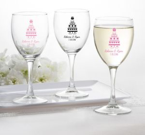 PERSONALIZED Wedding Wine Glasses (Printed Glass) (Pink, Sweet Wedding Cake)
