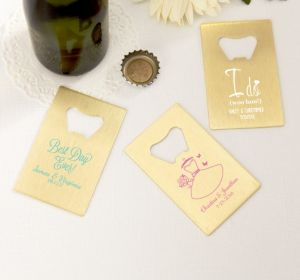 PERSONALIZED Wedding Credit Card Bottle Openers - Gold (Printed Metal) (White, Blushing Bride Dress)