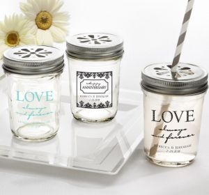 PERSONALIZED Wedding Mason Jars with Daisy Lids (Printed Glass) (White, Always & Forever Phrase)