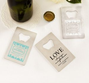 PERSONALIZED Wedding Credit Card Bottle Openers - Silver (Printed Metal) (White, Always & Forever Damask)