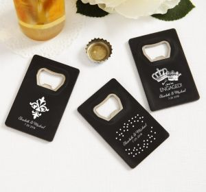PERSONALIZED Wedding Credit Card Bottle Openers - Black (Printed Plastic) (White, Damask & Dots Engagement)