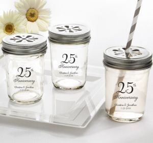 PERSONALIZED Wedding Mason Jars with Daisy Lids (Printed Glass) (25th Anniversary Elegant Scroll)
