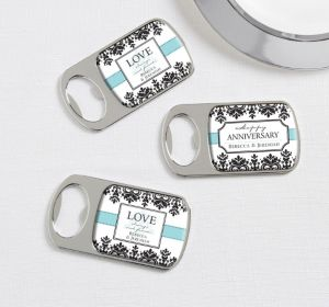 PERSONALIZED Wedding Bottle Openers - Silver (Printed Epoxy Label) (Always & Forever Anniversary)