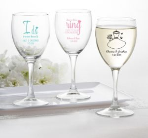 PERSONALIZED Wedding Wine Glasses (Printed Glass) (Pink, Blushing Bride Dress)