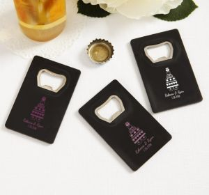 PERSONALIZED Wedding Credit Card Bottle Openers - Black (Printed Plastic) (Pink, Sweet Wedding Cake)
