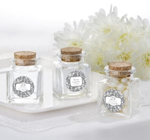 PERSONALIZED Wedding Small Glass Bottles with Corks (Printed Label) (Silver Elegant Scroll)