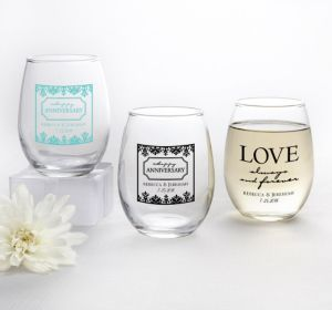 PERSONALIZED Wedding Stemless Wine Glasses 9oz (Printed Glass) (White, Always & Forever Damask)