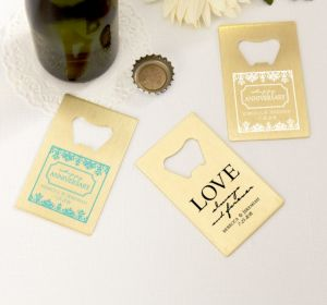 PERSONALIZED Wedding Credit Card Bottle Openers - Gold (Printed Metal) (Robin's Egg Blue, Always & Forever Damask)