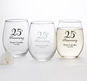 PERSONALIZED Wedding Stemless Wine Glasses 15oz (Printed Glass) (25th Anniversary Elegant Scroll)