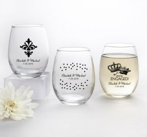 PERSONALIZED Wedding Stemless Wine Glasses 9oz (Printed Glass) (Black, Damask & Dots Engagment)