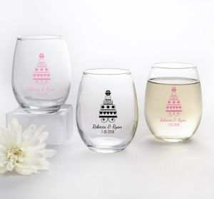 PERSONALIZED Wedding Stemless Wine Glasses 9oz (Printed Glass) (Pink, Sweet Wedding Cake)