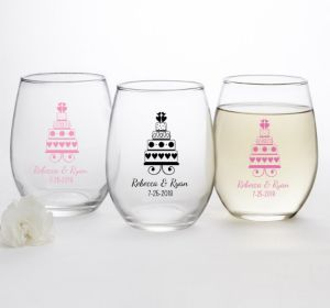 PERSONALIZED Wedding Stemless Wine Glasses 15oz (Printed Glass) (Bright Pink, Sweet Wedding Cake)