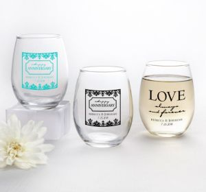 PERSONALIZED Wedding Stemless Wine Glasses 9oz (Printed Glass) (Robin's Egg Blue, Always & Forever Phrase)