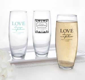 PERSONALIZED Wedding Stemless Champagne Flutes (Printed Glass) (Robin's Egg Blue, Always & Forever Phrase)