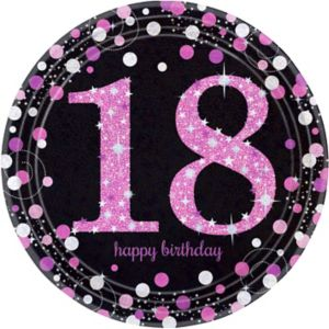 Prismatic 18th Birthday Lunch Plates 8ct - Pink Sparkling Celebration
