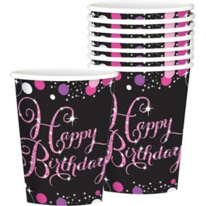 Happy Birthday Cups 8ct - Pink Sparkling Celebration