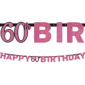 Prismatic 60th Birthday Banner - Pink Sparkling Celebration